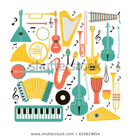 musical instruments drum keyboard instrument trumpet vector illustration stock photo © pikepicture