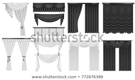 Preto e branco cortina conjunto ilustração usado japonês Foto stock © Blue_daemon