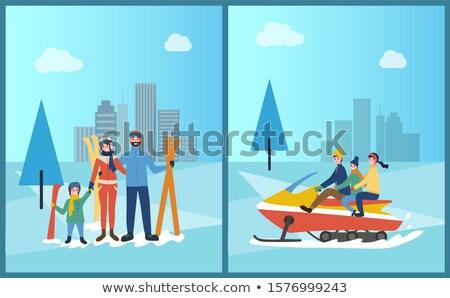 moeder · rijden · kinderen · paardrijden · Maakt · een · reservekopie - stockfoto © robuart