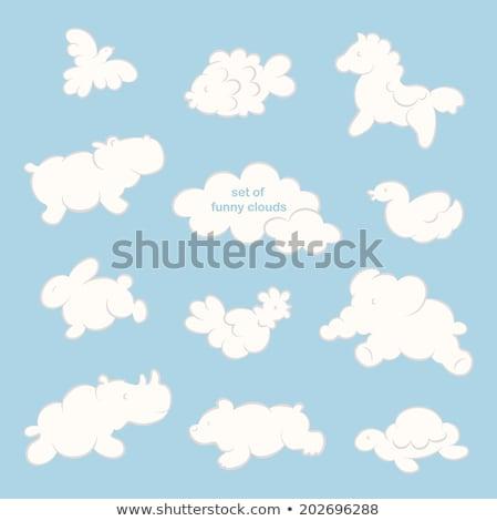 Wektora zwierząt Chmura zestaw czarno białe Zdjęcia stock © VetraKori