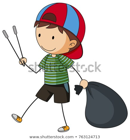 Chłopca śmieci worek szczypce ilustracja dziecko Zdjęcia stock © colematt