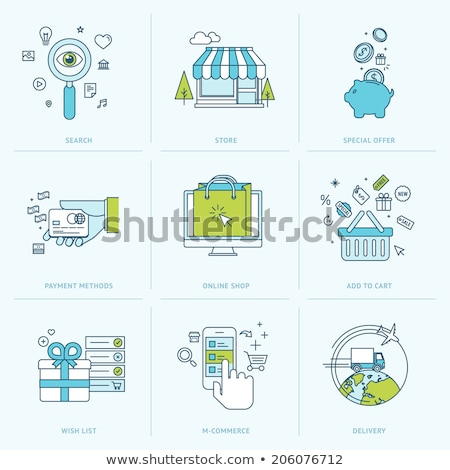 on line shopping and payment methods mobile payments flat vector illustration stock photo © makyzz