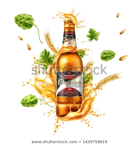 Realistic Glass With Bubbles Lager Beer Vector Сток-фото © pikepicture