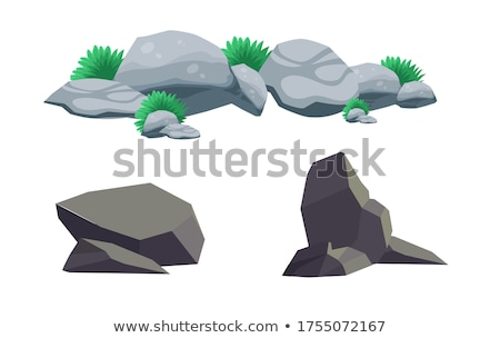Rock stone set with grass cartoon in flat style. Vector Stock photo © Andrei_
