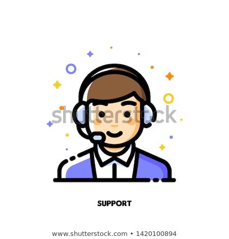 икона Cute мальчика гарнитура обслуживание клиентов Call Center Сток-фото © ussr