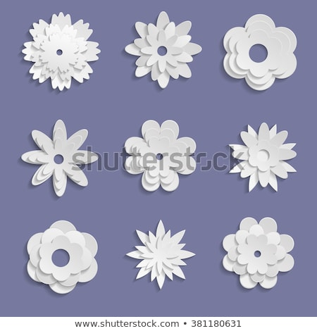 origami flowers white paper cut out objects set stock photo © robuart