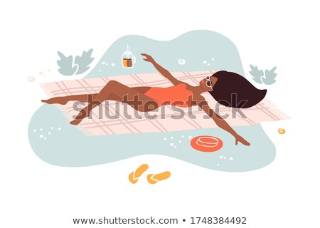 Top view illustration of girl lying on the beach Stock photo © Sonya_illustrations