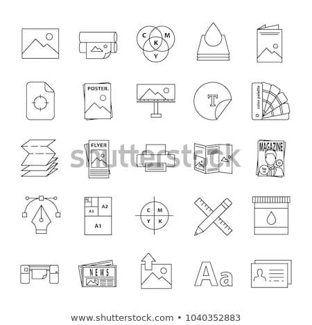 Polygraphy flat icons set Stock photo © netkov1
