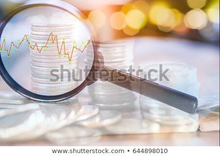 Stockfoto: Geld · vergrootglas · papier · glas · financieren · bank