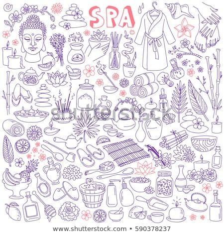 Fürdő firka szett kézzel rajzolt rajz ikon szett Stock fotó © netkov1