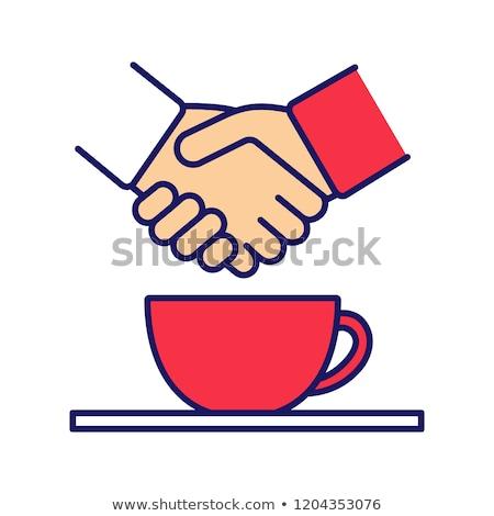 kahve · el · sıkışma · örnek · yalıtılmış · iki · adam - stok fotoğraf © tiKkraf69