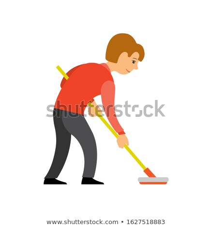 Person Play Curling Using Broom Isolated Character Stock photo © robuart