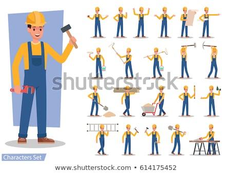 vektor · szett · ipari · munkások · kovács · dolgozik - stock fotó © robuart