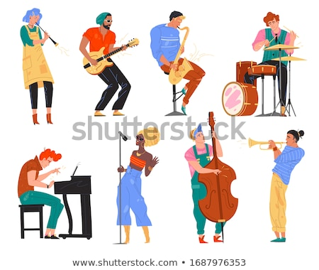 Artists Woman and Man Singing Song, Concert Vector Stock photo © robuart