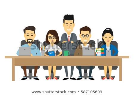 Stock photo: Asian Chinese Business People Teamwork Meeting Vector Illustrati