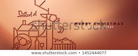 copper christmas banner of papercut outline deer stock photo © cienpies