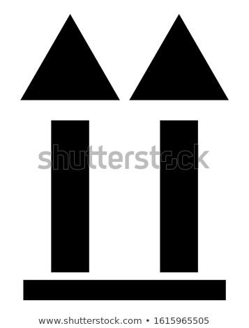 Superior símbolo envases etiqueta dos flechas Foto stock © orensila