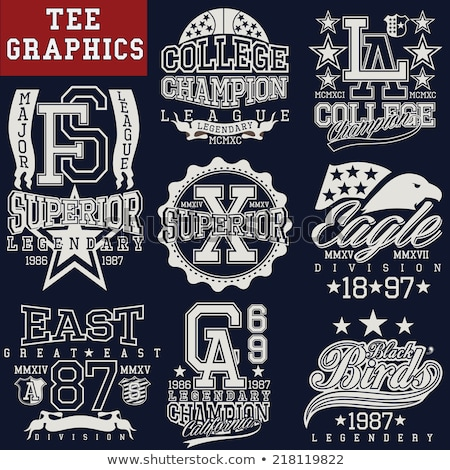 T-shirt stamp graphic set. Sport wear typography emblem Stock photo © Andrei_