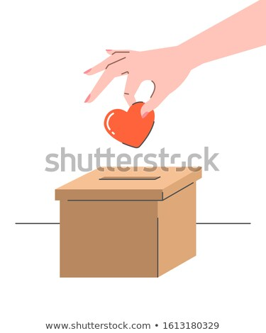 Charity donation concept with heart and carton box Stock photo © vectorikart