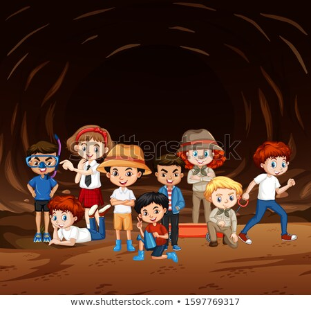 Scene with many kids exploring the cave Stock photo © bluering