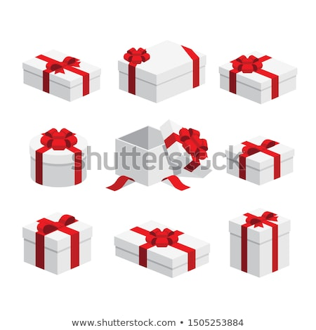 9 Colorful vector flat boxes with ribbons isolated on white background. Package, gift, present, happ Stock photo © karetniy