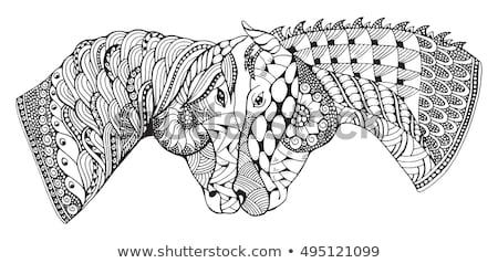 Zentangle horse head with mandala. Hand drawn decorative vector illustration for coloring. Stock photo © Natalia_1947