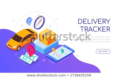 Delivery tracker service - modern colorful isometric web banner Stock photo © Decorwithme