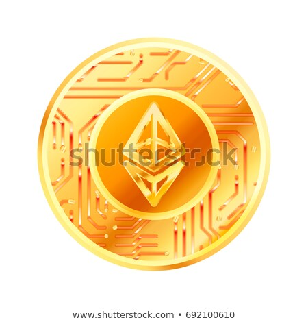 Bright golden coin with microchip pattern and Ethereum sign. Cryptocurrency concept on white Stock photo © evgeny89