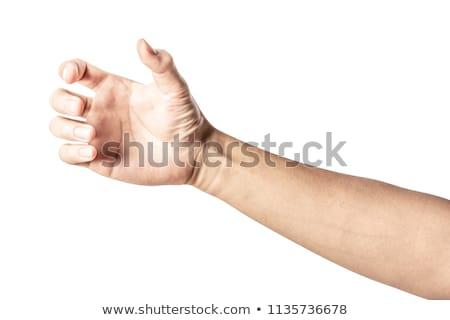 Foto stock: Mão · vidro · água · isolado · branco