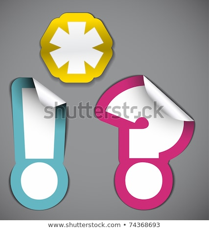 White exclamation mark with purple border Stock photo © orson