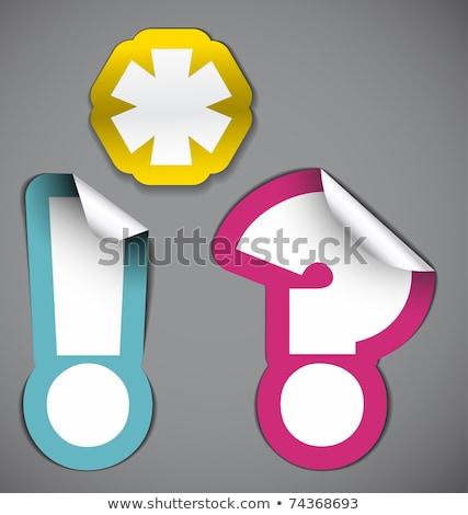 Beyaz ünlem işareti mor sınır etiket önemli Stok fotoğraf © orson