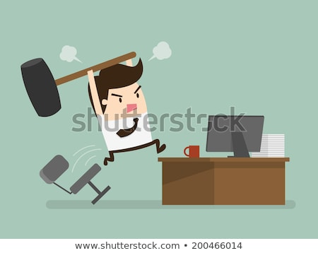 Furious frustated businessman hitting the computer keyboard Stock photo © carbouval