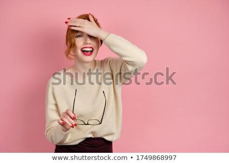 Foto stock: Lábios · vermelhos · feminino · boca · batom · abrir · vetor