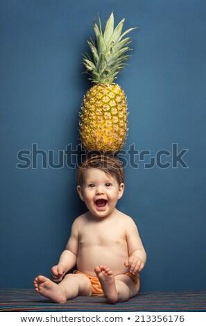 Stockfoto: Portret · vrouw · zonnebril · ananas