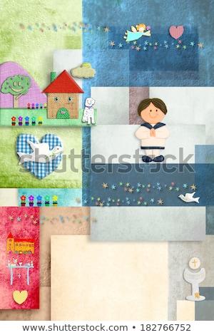 Wesoły pierwsza komunia karty anioł dzieci cukru Zdjęcia stock © marimorena