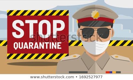 Cartoon policeman with dark glasses Stock photo © antonbrand