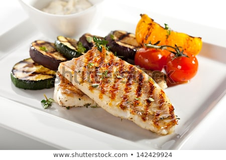Stockfoto: Gegrild · vis · groenten · salade · lunch · plantaardige