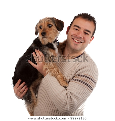 человека · собака · портрет · Cute · смешанный - Сток-фото © arenacreative