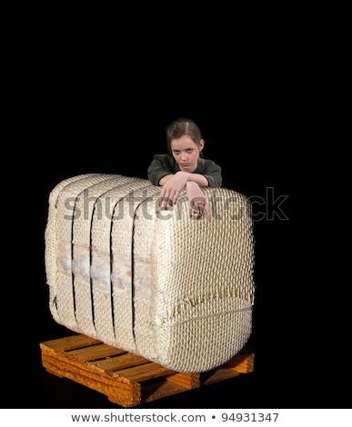 Tini nő dől pamut bála gyönyörű Stock fotó © piedmontphoto