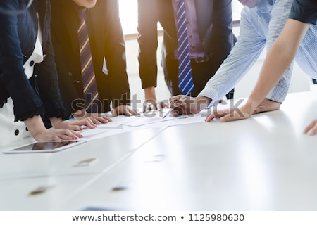 Conference room with tables with hand Stock photo © backyardproductions