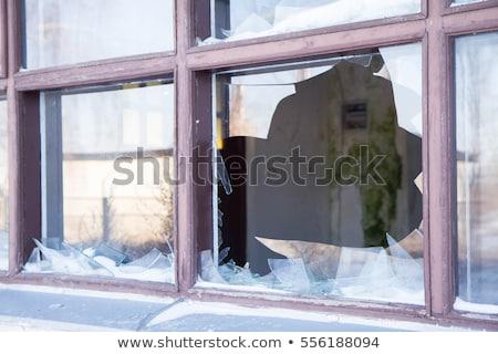 öreg törött ablak közelkép Stock fotó © njnightsky