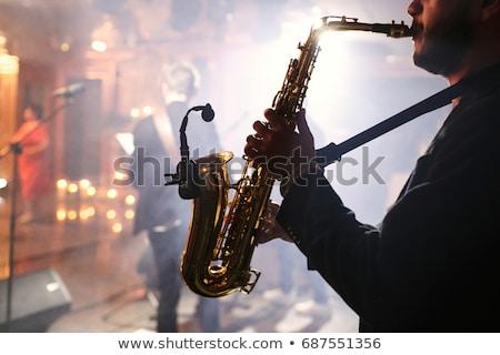 Hüzün müzisyen iyi görünümlü gitarist yalıtılmış seksi Stok fotoğraf © lisafx