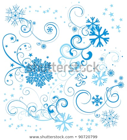 blue colored paper texture with flourishes and snowflakes textur Stock photo © cherju