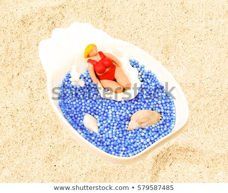 Foto d'archivio: Blu · bikini · shell · sabbia · bianca · donna