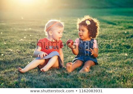 Stok fotoğraf: çok · güzel · çocuklar · yeme · kırmızı · elma · dışında