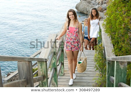 Group of friends arriving at the beach Stock photo © photography33