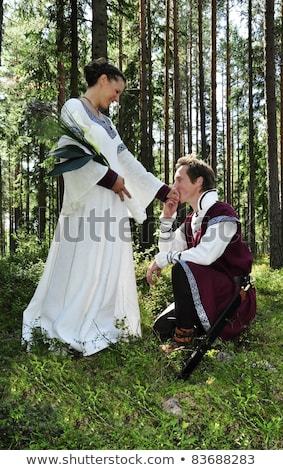 Stock photo: Princess Bride and her knight / wedding