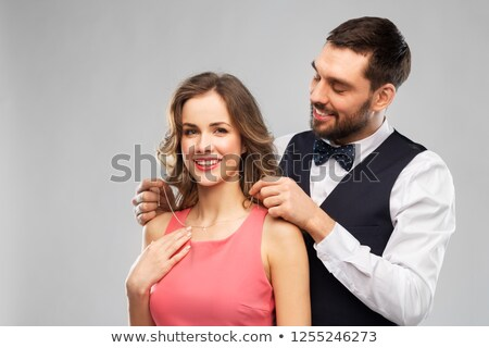 Man giving his girlfriend a necklace Stock photo © photography33