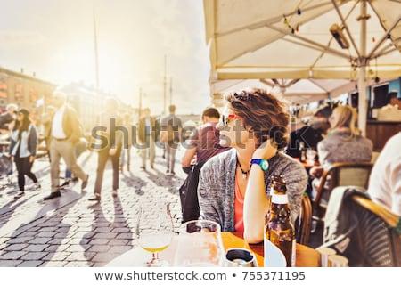 Retrato bonitinho mulher cidade café urbano Foto stock © adam121