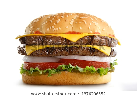 Foto stock: Dobrar · hambúrguer · grande · saboroso · carne · queijo
